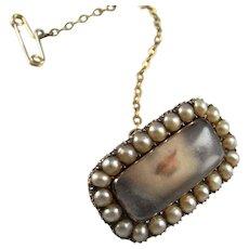Secret Message Jewelry Pin Georgian Lovers Pin Brooch 10K Gold Dainty Antique Brooch Seed Pearls Sentimental Jewelry Sentimental Brooch Valentines Lovers Lips Message