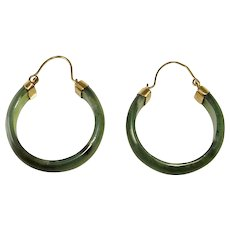 Green Nephrite Jade 14K Gold Hoops Hoop Earrings Carved Jade Hoop Earrings Natural Jade Earrings Vintage Jade Jewelry Plain Jade Earrings