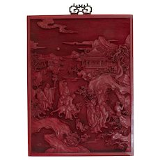 Antique Chinese Cinnabar Carving Qianlong Cinnabar Lacquer Lacquered Relief Panel Carved Panel Chinese Art Sculpture Statues