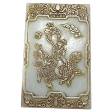 17th to 18th C Nephrite Jade Pendant Amulet Plaque Celadon Green Nephrite Chinese Antique Carving Carved Jade Jewelry Chinese Art Kylin Signed Zigang