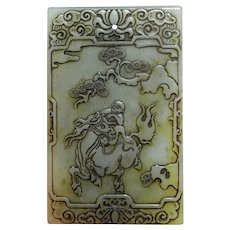 17th to 18th C Nephrite Jade Pendant Amulet Plaque Celadon Green Nephrite Carving Carved Antique Qing Jade Chinese Art Monkey Horse Luck