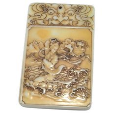 Antique Carved Jade Pendant Nephrite Jade Pendant Amulet Qing 1800s 19th Century White Nephrite Jade Cameo Pendant Talisman Jewelry Chinese