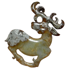 1000 BC Carved Jade Pendant Archaic Jade Amulet WESTERN ZHOU Dynasty Deer Carving Talisman Nephrite Jade Ancient Jewelry Unisex Chinese Deer Animal Carving