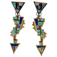 Native American Indian Drop Earrings 14K Gold Inlay Inlaid Turquoise Earrings Navajo Jewelry Artisan Lapis Red Coral Opal One of a Kind 585