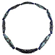 Ancient Glass Eye Bead Necklace Ancient Glass Beaded Necklace Warring States Dragonfly Eye Bead Necklace Jewelry Ancient Chinese Necklace