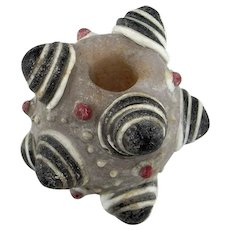 Ancient Warring States Glass Bead Dragonfly Eye Bead Eastern Zhou Glass Bead Ancient Glass Bead Big Horned Bead Large Eye Bead Black 475BC