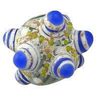 Ancient Warring States Glass Bead Dragonfly Eye Bead Eastern Zhou Glass Bead Ancient Glass Bead Big Horned Bead Large Eye Bead Blue 475BC