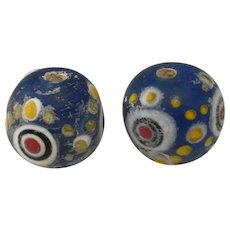Chinese Antiques PAIR Dragonfly Eye Bead Glass Eye Bead Eastern Zhou Dynasty Glass Bead Ancient Glass Bead Pendant Evil Eye Amulet Asian Art