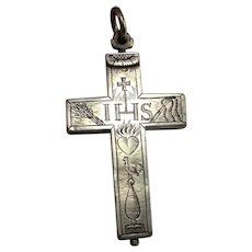 1600s Renaissance Antique Reliquary Cross Silver IHS Passion of Christ Pre Georgian Cross Pendant Engraved Antique Cross Catholic Cross