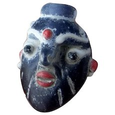 5th C BC Carthaginian Pheonician Bearded Glass Head Pendant Ancient Amulet Jewelry Core Formed Glass Pendant Carthage Tunisia Lebanon
