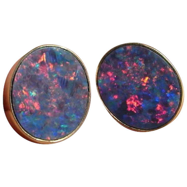 Black Australian Opal Natural Earrings Unique Studs Gold 9k Yellow 1970s Vintage