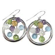 Modernist 14K White Gold Drop Dangle Statement Earrings MultiStone Multi-Gem Floral Earrings Peridot Topaz Amethyst Citrine Earrings Unique
