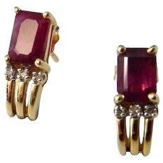 Natural Ruby Studs 14K Gold Ruby Diamond Earrings Emerald Cut Ruby Studs Dainty Stud Earrings Vintage Ruby Earrings Ruby Anniversary Jewelry