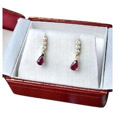 Dainty Natural Ruby Drop Earrings Ruby Diamond Drop Earrings Red Ruby Earrings Minimalist Ruby Earrings Dangle Ruby Anniversary July Gift