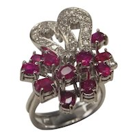 NO HEAT Ruby Diamond Cluster Engagement Ring 14K White Gold 1950s Jewelry Cocktail Rings Oval Cut Floral Engagement Butterfly Bow Bouquet