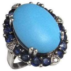 Natural Turquoise Sapphire Diamond Ring Sterling 925 Silver One of a Kind Statement Turquoise Cabochon Ring 1970s Vintage Engagement Blue