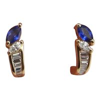 Deep Cornflower Blue Unheated Natural Sapphire Diamond Earrings 18K Gold Studs Marquise Cut Sapphire Diamond Studs Anniversary Wedding Fine