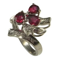 Ruby Engagement Ring No Heat Ruby Diamond Engagement Cluster Ring Ruby Cocktail Ring Ruby Anniversary Floral Vintage Mid Century Ring RED