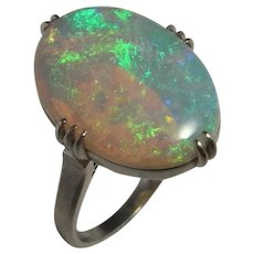 Australian Crystal Opal Ring Natural Crystal Opal Ring Art Deco Opal Ring Antique Opal Ring Opal Engagement Ring Platinum Fiery