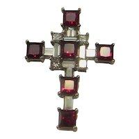 Unheated Ruby Diamond Cross 18K White Gold Crucifix Religious Christian Cross Diamond Gold No Heat Ruby Cross Pendant Wedding Anniversary
