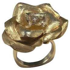 14K Gold Rose Ring Large Gold Flower Ring Large Rose Ring Rose Jewelry Big Flower Ring Yellow Gold Diamond Ring Unique Engagement Custom
