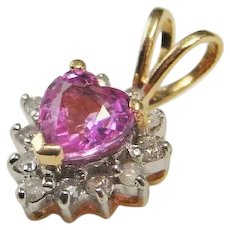 Dainty Pink Sapphire Diamond Pendant Heart Sapphire Pendant 14K Gold Heart Cut Sapphire No Heat Pink Sapphire Jewelry Pendant Unheated Fine