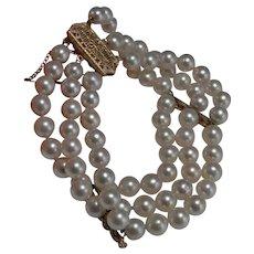 Art Deco Pearl Bracelet 14K Gold Antique Triple Strand Pearl Bracelet Filigree Gold Clasp Art Deco Pearls Multistrand Pearl Bracelet White