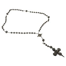 Antique Silver Rosary European Rosary Beads Silver Circa 1800 Rosary Antique Religious Jewels Cross Crucifix Prayer Silver Lace