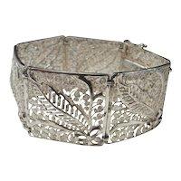 Antique Silver Filigree Bracelet Jugendstil Bracelet Victorian Bracelet Silver Lace European Art Nouveau Bracelet Link Bracelet Fern Leaf