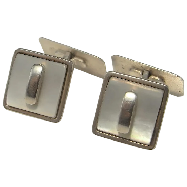 Classic Design Men/'s-Boy/'s Cuff Links ART DECO Style RETRO Age Snap Cufflinks Black and Silver Tone Metal Mother of Pearl Dress Attire