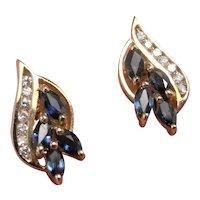 Sapphire Diamond Earrings Blue Sapphire Cluster Earrings Leaf Floral Studs Sapphire Studs Stud Earrings No Heat Sapphire Jewelry Anniversar
