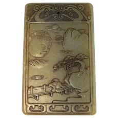 Chinese Antiques Jade Pendant Qing Dynasty Pictorial Scene Jade Amulet Chinese Jade Jewelry Nephrite Jade Plaque Buddhist Buddha Jade 17th 18th Century Cameo
