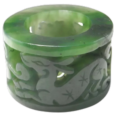 Chinese antiques Jade Archers Ring Qing Archery Ring Antique Jade Ring Spinach Jade Untreated Jade Hand Carved Unisex Ring Thumb Ring