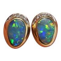 Australian Boulder Opal Diamond Earrings 14K Gold Stds Stud Earrings Natural Opal Cabochon Rainbow Fiery Opals October Birthstones