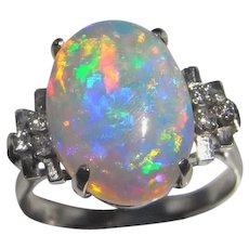 Australian Opal Diamond Engagement Ring Platinum One of a Kind Natural Opal Birthstone Rings Rainbow Fiery Large Opal Rings Unique Jewelry
