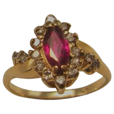 NO HEAT Marquise Ruby Diamond Ring 14K Gold Engagement Rings Ruby Anniversary Ring Dainty Ruby Jewelry Pretty Natural Red Ruy Ring UNHEATED