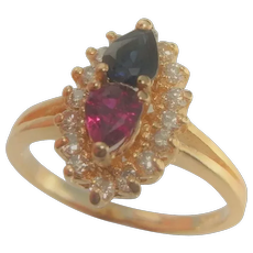 Toi et Moi Sapphire Ruby Engagement Ring Me and Your Sapphire Ruby Diamond 14K Gold Ring Vintage Estate One of Kind Rings No Heat Ruby