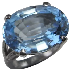 Large Blue Topaz Diamond Platinum Engagement Ring Cocktail Ring November Birthstone Jewelry Geometric Ring Big Rings Untreated Topaz
