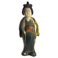 Tang Dynasty Statue Lady Woman Sancai Glazed Ceramic Figure Ancient Chinese Art 618 to 907 AD San Cai Glazed Artifact Antiquity