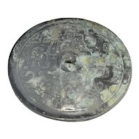 ANCIENT Warring States Bronze Mirror Chinese Art and Artifacts Asian Antiques Dragon Statue BC Eastern Zhou Dynasty Art