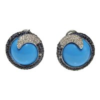 Turquoise Blue Sapphire Diamond 18K White Gold Stud Earrings Swirl Button Dome Earrings
