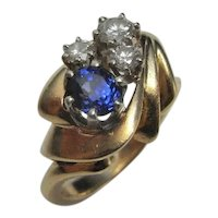 UNHEATED Blue Ceylon Sapphire Diamond 14K Gold Engagement Ring One of a Kind Unique Mid Century Sapphire Anniversary Rings Jewelry