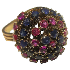 1950s Ruby Sapphire Dome Bombe Ring 14K Gold Cocktail Ring Unique Engagement Ring No Heat Unheated Rubies Sapphires Vintage Ring Retro Ring