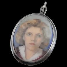 Art Deco 1930s Enamel on Copper Portrait Pendant 900 Silver Miniature Portrait Enamel Portrait 1920s 1930s Pendant Jewelry Beautiful Woman
