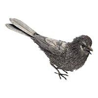 Bird Statue Sculpture Ornament circa 1960 Italian Hand Made Sterling 925 Silver Mid Century Decor Design Thrush Redstart Swallow Birds