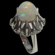 Australian White Opal Ring 18K Gold 1950s Australian Opal Diamond Ring Opal Birthstone Rings Aussie Opal Rings Large Opal Ring Natural Opal