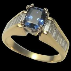 NO HEAT Ceylon Blue Sapphire Diamond 14K Yellow Gold Engagement Ring Rectangular Cushion Cut Blue Sapphire Rings Estate Vintage Sapphires