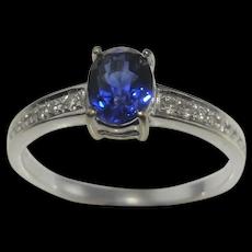 NO HEAT Vintage Cornflower Blue Sapphire Diamond Engagement Ring 18K White Gold Handmade Ceylon Sapphire Birthstone Ring