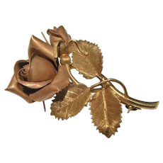 Rose Pin Brooch 14K Rose Gold Yellow Gold Multitone Multicolor Gold Bouquet Corsage Cottage Rose Flower Jewelry Anniversary Wedding Bridal