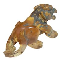 ANCIENT HAN Dynasty Yellow Glass Bixie Pixiu Winged Lion Figurine Ornament Chinese Art Antiquities Statue Sculpture Cat Feng Shui